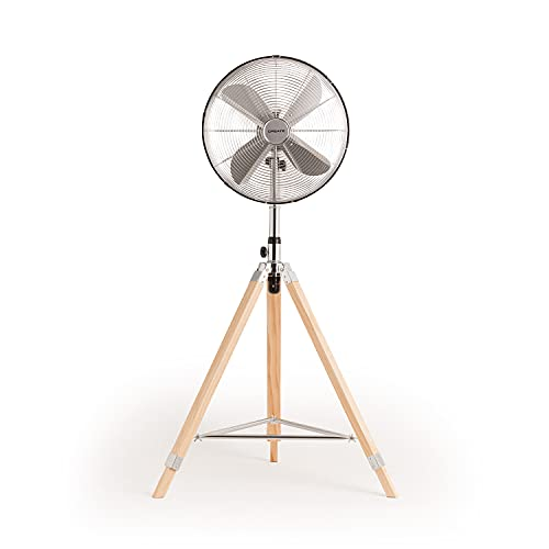CREATE IKOHS AIR TRIPOD RETRO - Ventilador de pie oscilante con 4 Aspas, Silencioso, 3 Niveles de Ventilación, Regulable y ajustable 126-135cm, 50W, Trípode Plegable de Madera, Cromado