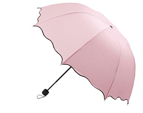 Dome Sonnenschirm sun-rain Regenschirm, dreifach zusammenklappbar gerüschte UV Sonnenschirm (Rosa)