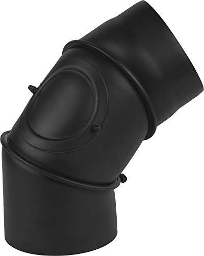 rg-vertrieb Ofenrohr Knie Winkel Bogen 0-90° verstellbar mit Tür Stahlrohr Abgasrohr Senotherm Schwarz 2mm Heizung Rauchrohrbogen (180mm)