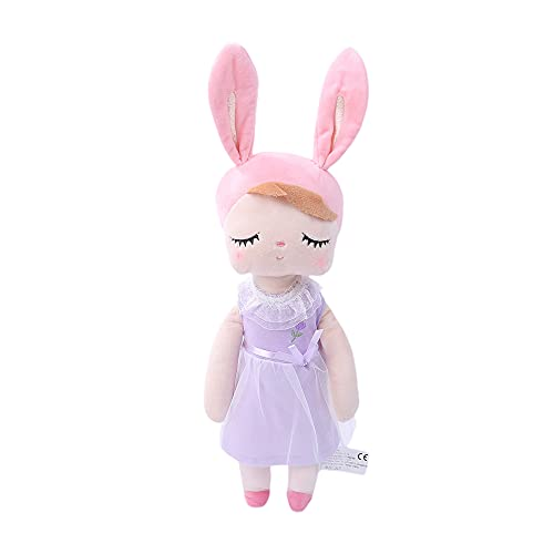 Qtinghua Baby Doll for Girls Boys Gifts Toddler Plush Toy Princess Dress Dolls Cute Plushie Soft Stuffed Toys Gift for Birthday, Valentine, Christmas (A07 Purple Tulle Dress, One Size)
