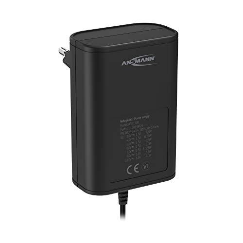 ANSMANN APS 1500 Netzteil 12V - Netzstecker bis max. 1500mA (mit 7 universal Adapter Stecker) Netzadapter zur Stromversorgung vieler Elektrokleingeräte von 3-12 Volt regelbar