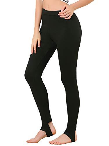 Allegra K Leggings Pantalones De Estribo De Cintura Elástica De Color Sólido para Mujer Negros XXL