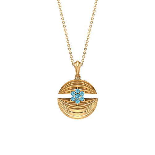 Gold Engraved Aquamarine Necklace by Rosec Jewels