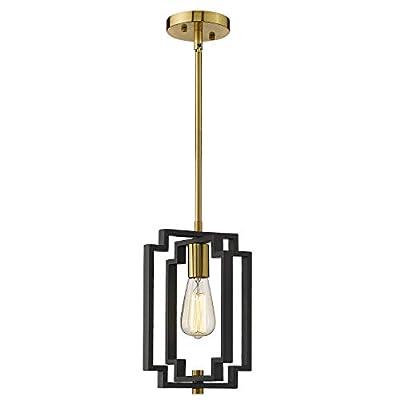 Emliviar Industrial Pendant Light, 1-Light Kitchen Hanging Light Fixture Adjustable, Black and Gold Finish, JE1981M1L BK+G