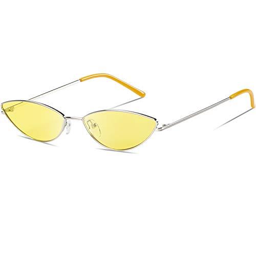 DUCO Trendy Cool Stylish Vintage Cateye Polarisierte Sonnenbrille für Frauen UV400 Schutz W019 (Silber Gelb)