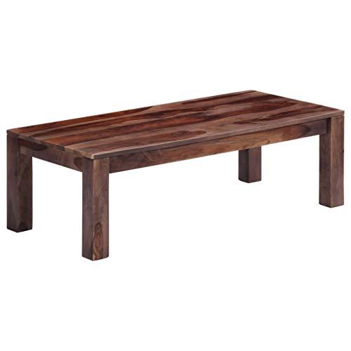 vidaXL Sheeshamholz Massiv Couchtisch Rustikal Beistelltisch Wohnzimmertisch Kaffeetisch Sofatisch Holztisch Massivholztisch Tisch Grau 110x50x35cm