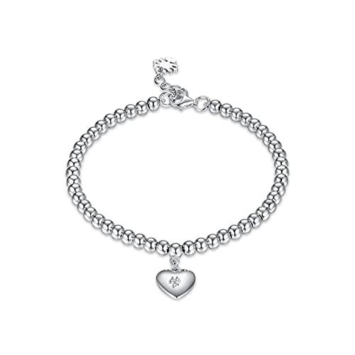 WJCRYPD Pulseras para Mujer 925 Pulsera de Plata esterlina Exquisita Moda Personalidad Joyería Bead Corazón Pulsera Novia Qf Shop