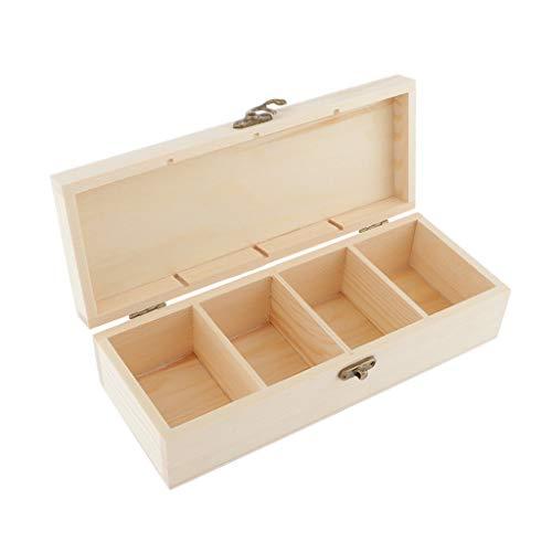 Hellery Caja de Joyería de Madera Natural con 4 Ranuras Caja de...