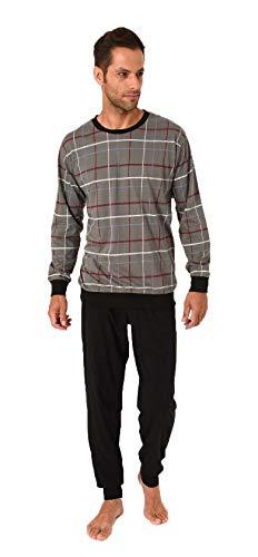 Langer Herren Schlafanzug mit Bündchen, Pyjama mit Rundhals - 281 101 90 003, Größe2:50, Farbe:grau