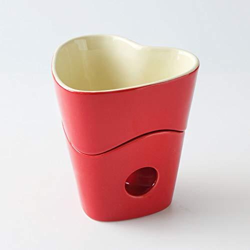 NKLL Stuhlkissen Keramik Schokoladen-Fondue-Set Käsetopf mit Keramikständer & DREI Gabeln Schokoladen-Fondue-Dienstprogramm for Home Cooking Vase (Color : Red)