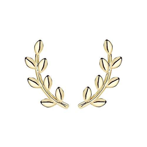 Delicate Leaf Stud para mujeres niñas coreano Plata de ley 925 Pequeño 2021 Gold Mini Earin Jewelry C40-gold
