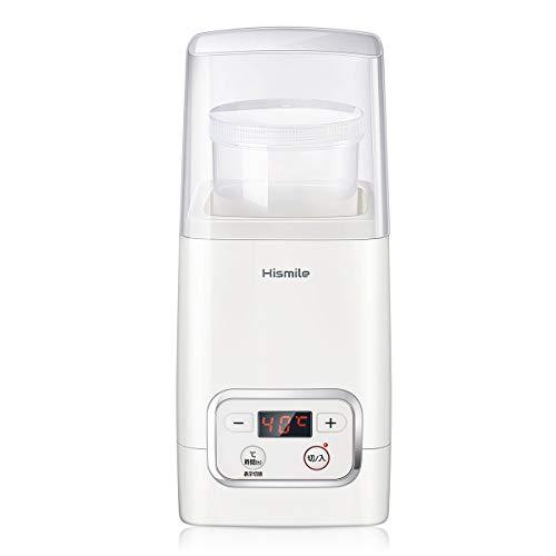 Hismile コンパクトヨーグルトメーカー 25~69℃温度調節/1~99時間タイマー設定 甘酒 低温調理にも対応 進化した独自の立体加熱構造 日本品質保証とサービス レシピ付き 1L専用容器、計量カップ、スプーン、牛乳パック用フタ 日本向けに設計を一新