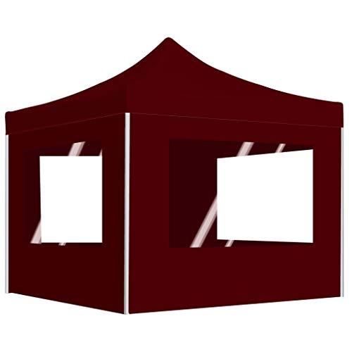 vidaXL Profi Partyzelt Faltbar mit Wänden Pavillon Festzelt Gartenpavillon Bierzelt Faltpavillon Faltzelt Gartenzelt Garten Aluminium 2x2m Bordeauxrot