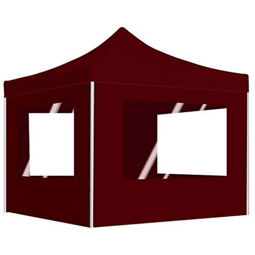 pedkit Professional Folding Party Tent with Walls Outdoor Canopy Aluminium 3x3 m Wine Red