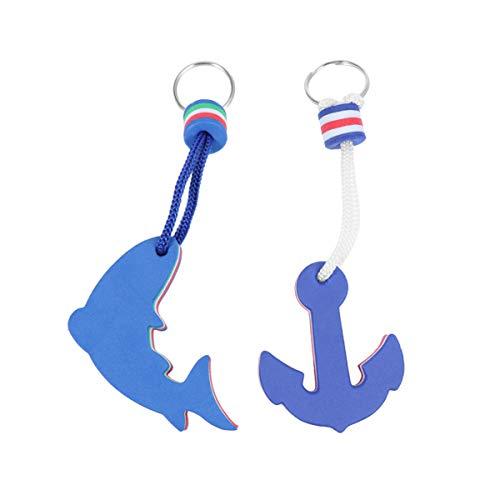 VOSAREA 2Er Pack Schwimmende Schlüsselanhänger Boot Schlüsselbund Schwimmende Boje Boot Zubehör Delfin Anker Schwimmende Schlüsselring für Boot Kajak Wassersport