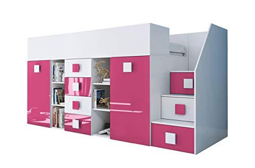 KRYSPOL Etagenbett für Kinder TOLEDO 3 Stockbett mit Treppe, Schreibtisch, Bettkasten (Weiß/Weiß Glanz + Rosa Glanz, Seite: rechts)