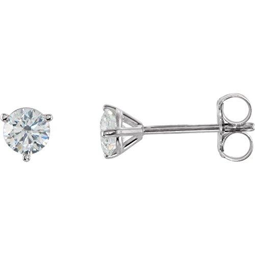Hermosos pendientes de tuerca de diamante de 1/2 quilate con parte trasera