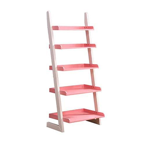 JCNFA Planken Moderne Ladder Boekenkast Gemaakt Van Hout Wandplank Organizer Planken Voor CD's, Records Boeken Home Office Deco 23.81 * 15.55 * 55.11in roze
