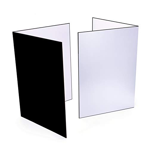 2 PCS Light Reflector 3 in 1 Photography Reflector Cardboard A4 12x8 Inch Size Folding Light Diffuser Board for Still Life Product and Food Photo Shooting  Black Silver and White 2 Pack