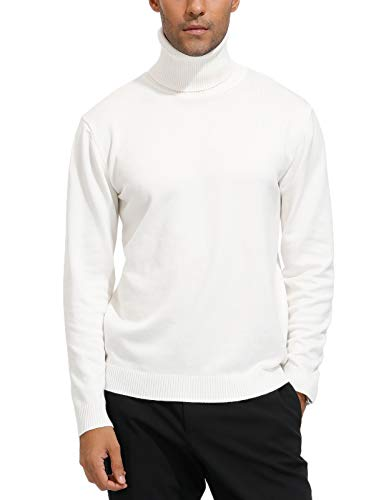 Paul Jones Men's Slim Fit Casual Long Sleeve Turtleneck Pullover Sweater L White