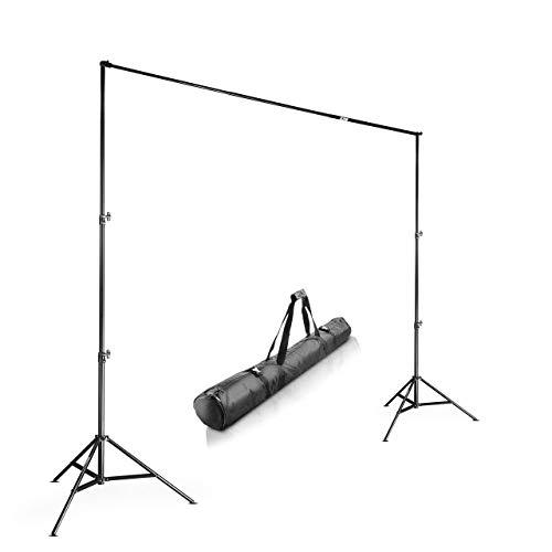 Walimex pro Teleskop Hintergrundsystem XL 225-400 cm - extragroßes Fotohintergrund System für Studio & Mobil I für Fotografie Video & Green Screen I für Leinwände aus Papier & Stoff I Höhe 102-256cm