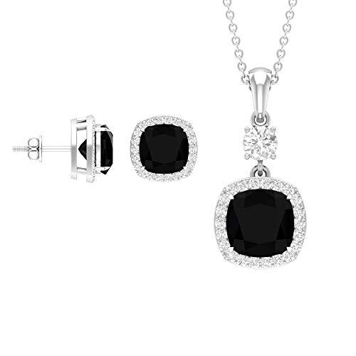 Rosec Jewels 18 quilates oro blanco cojín Round Brilliant Black Moissanite Ónix negro