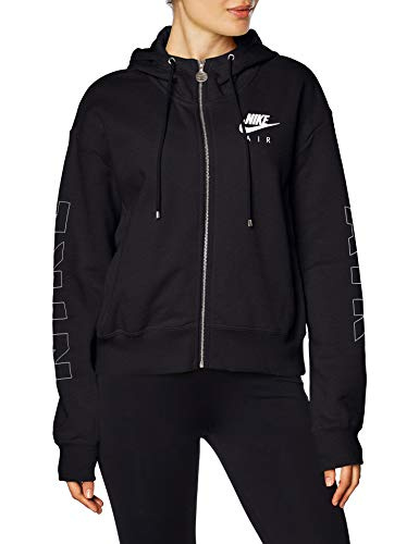 Nike Damen W NSW AIR Hoodie FZ FLC BB Sweatshirt, Black/(Ice Silver), M