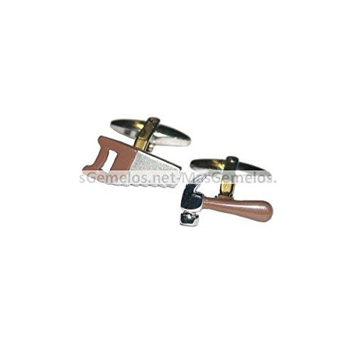 MasGemelos manchetknopen met zaag en bruine hamer