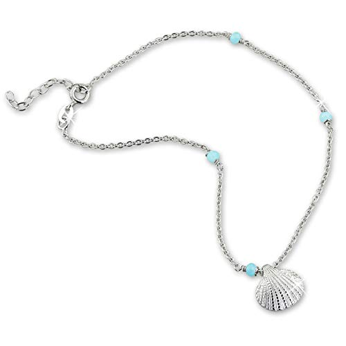SilberDream SDF5245H Women's Shell Anklet Light Blue Acrylic Pearl 25 cm 925 Silver