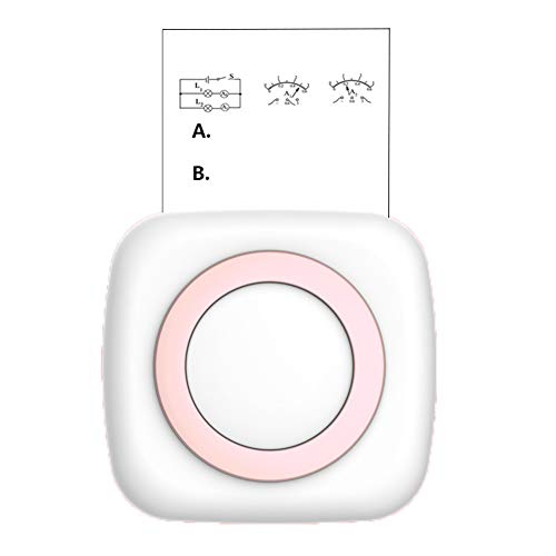 SJTL Mini Stampante Termica Wireless Bluetooth, Stampante Portatile, per Foto in Bianco e Nero Bullet Journal Compatibile con Tablet Android iOS,Rosa