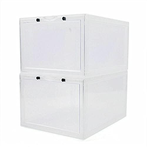 Cajas de zapatos apilables transparentes para zapatos, organizador de zapatos (2 unidades), color blanco