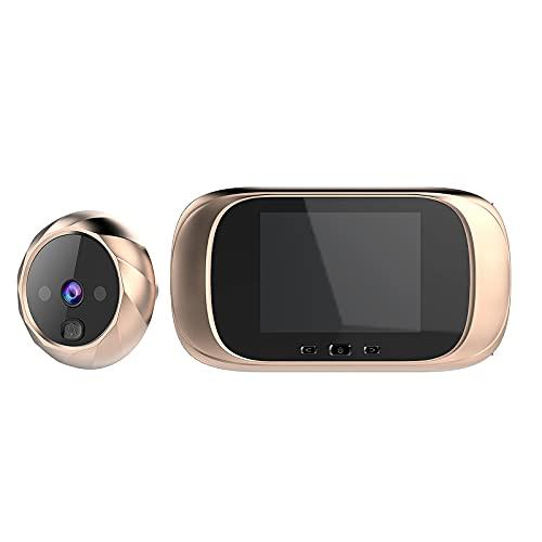 Tglabayun Digital para Puerta con cámara de 2,8 Pulgadas,Pantalla LCD de Visión Nocturna,Visor Mirilla Puerta,Vigilancia Digital de la Puerta de Seguridad del Hogar - Oro