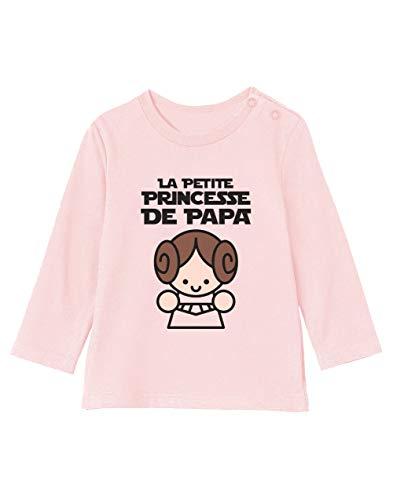 Green Turtle Cadeau Père Fille - Princesse De Papa T-Shirt Bébé Unisex Manches Longues 6-12M 66/76cm Rose Pale