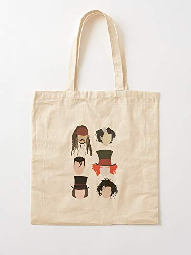 Desconocido Caribbean Jack Sparrow Pirates Of Edward Johnny Depp The Captain Johny Scissorhands I Anh Canvas Grocery Bags Tote Bags with Handles Durable Cotton Shopping Bags