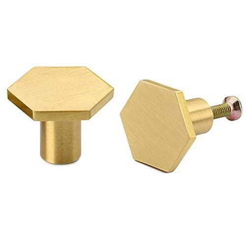SIYI-XIU 2 pomelli esagonali in ottone massiccio per cassetti e cassetti, esagono in ottone con vite per armadietti, scrivania, cassettiere, cassetto, oro (30 x 21 mm)