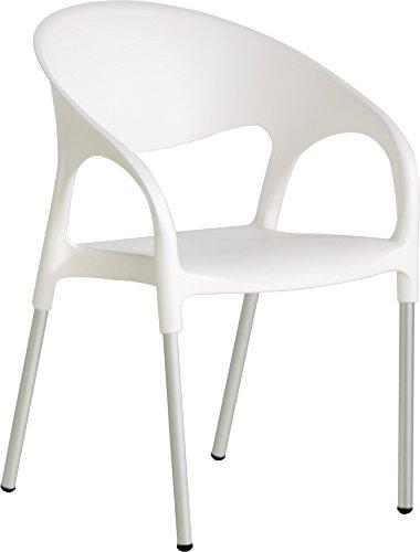 LEBER 4 x sillón Turbo Aluminio/Resina Blanco. Apilable. Uso Exterior. Hostelería, jardín y terraza.
