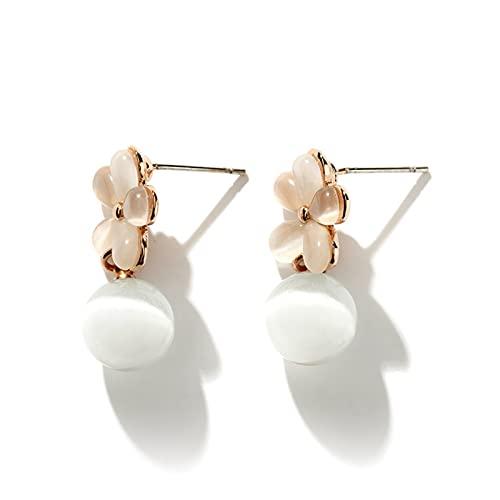 LICHUAN Pendientes de perlas de cristal, pendientes de moda, pendientes colgantes de oreja, regalo de cumpleaños, joyería de Navidad para mujeres y niñas