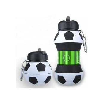 Happylife Soccer Ball Shaped Collapsible Silicon Water Bottle 18.5oz BPA Free FDA Approved Durable and Leak Proof