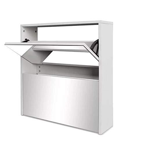 Zerone Zapatero 2 Puertas Blanco, Mueble Zapatero 2 Compartimentos con Espejo, 63 x 17 x 67cm