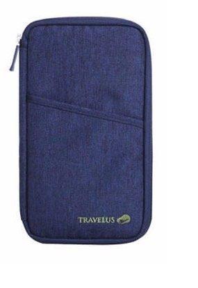 Carteira Porta Passaporte Organizador Documento Cartão Bolsa Azul