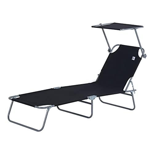 YQZ Asiento Plegable para Tumbona con Parasol, con Respaldo Ajustable de 4 Posiciones Tumbona portátil, para jardín al Aire Libre, Patio, terraza