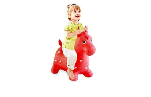 Jamara 460317 - Hüpftier Pferd rot mit Pumpe - fördert Gleichgewichtssinn und motorische Fähigkeiten, Tierohren dienen dem Kind als Halt, belastbar bis 50 kg, Pflegeleicht, robust & widerstandsfähig