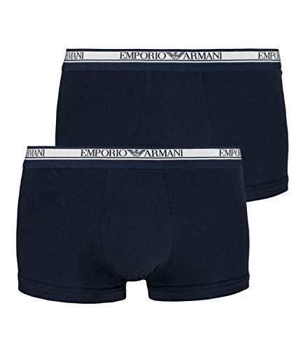 Emporio Armani Herren Boxershorts Boxer Trunk Stretch Cotton 89A598-111210 2er Pack, Farbe:Blau, Wäschegröße:L, Artikel:-27435 Marine