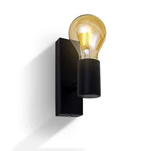 B.K.Licht Wandleuchte I Retro Wandstrahler I Vintage Wandlampe I Flurlampe I exkl. max. 60W E27 Leuchtmittel I schwarz I Wandspot