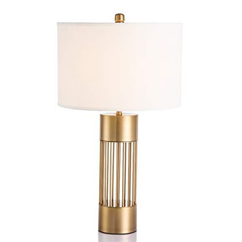 SHIJIE1701AA Lámpara de Mesa Latón Color Ahuecado Cuerpo de la lámpara de la lámpara Moderna Dormitorio Sala Junto lámpara de Mesa, 26' Desk lámpara de Sombra de Tela Blanca Noche Lámpara de Mesa
