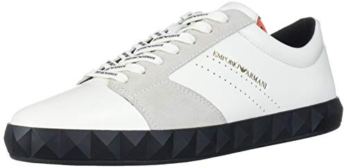 Emporio Armani Herren Geo Sneaker Turnschuh, weiß, 41 EU