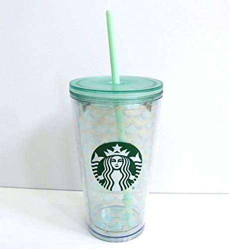Starbucks Trinkbecher mit Meerjungfrauen-Schuppen-Motiv, Acryl, 473 ml