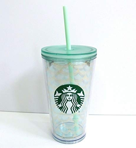 Starbucks Mermaid Scale Clear Acrylic Cold Cup Grande Tumbler, 16 fl oz