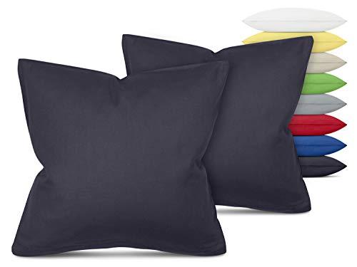 Unifarbene Kissenbezüge im Doppelpack - in 8 Farben und 3 Größen - Moderne Wohndekoration in dezentem Design, ca. 40 x 40 cm, anthrazit