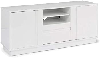 Home Styles Linear 56 in. White Wood TV Stand with 1 Drawer
